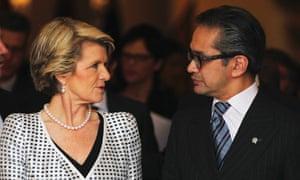 Marty Natalegawa and Julie Bishop in Jakarta