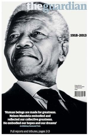 Mandela cover: Guardian front cover of Nelson Mandela's death 5th December 2013