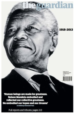 Guardian front page on the day of Nelson Mandela's death.