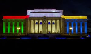 The Auckland War Memorial Museum, New Zealand, is illuminated in blue, green, red and yellow to reflect the South African flag marking the death of Nelson Mandela.