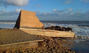 All that is left of the lifeboat station at Hemsby, Norfolk, after the storm on 5 December 2013.