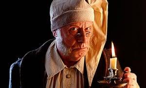 Richard Wilson dressed as Ebenezer Scrooge