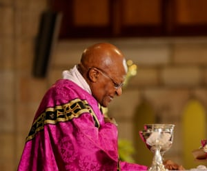 """Archbishop Desmond Tutu during prayer service at St George's Cathedral in Cape Town. Tutu told worshipers """"God, thank you for the gift of Madiba, thank you for what he has enabled us to know we can become and help us to become that kind of nation'."""