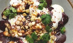 Yotam Ottolenghi's smoked beetroot with yoghurt and caramelised macadamias