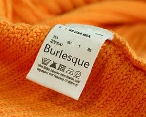 burlesque size label