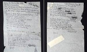 Bob Dylan handwritten lyrics for Mr. Tambourine Man
