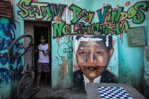 Graffiti depicting Mandela is seen at Mandela favela in Rio de Janeiro, Brazil. The shantytown was named after Mandela to commemorate his release from prison in 1990.