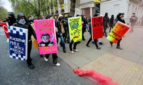 Student protesters on a Cops Off Campus march near the University of London