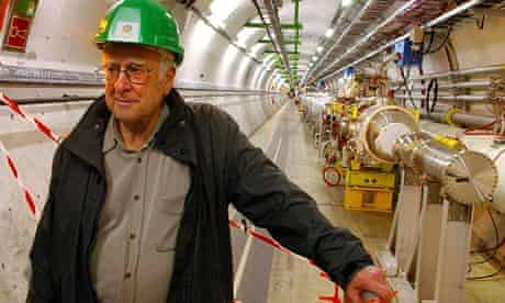 Peter Higgs inside the Large Hadron Collider at Cern in 2008