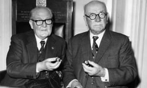 David Wiseman, left, chairman of the FA Challenge Cup Committee and RH Brough, vice-president of the FA, pick out Millwall and Tottenham in the 1967 FA Cup third round draw.