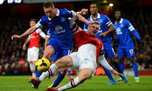 Per Mertesacker clashes with James McCarthy.