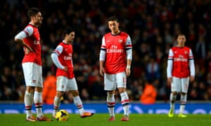 A dejected Arsenal after being pegged back.