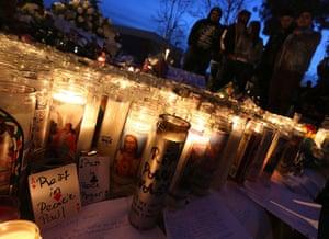 Paul Walker memorial: Fans gather near a makeshift shrine in Santa Clarita, California