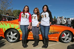 Paul Walker memorial: Fans wear shirts commemorating Paul Walker and Roger Rodas
