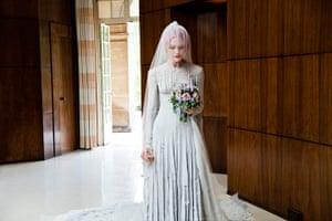 Wedding Dresses: grey chiffon