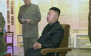 A still from the same documentary, re-broadcast on December 7, where the uncle of the North Korean leader has been edited out of footage.