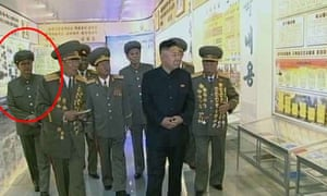 Kim Jong-un is led on a tour with members of his staff, including his uncle.