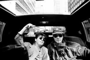 Duran Duran: Simon Le Bon and Andy Taylor in a limousine on route to the airport, NY, 19