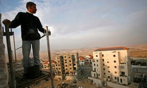 A Palestinian labourer at a construction site in the Jewish settlement of Maale Adumim