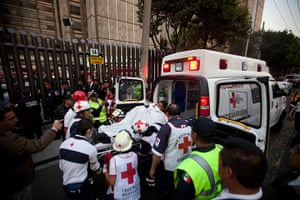 Mexico explosion: An injured person is carried into an ambulance