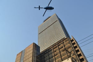 Mexico explosion: A helicopter flies over the building