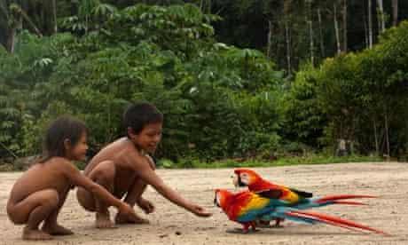 Huaorani Indian children, Ecuador