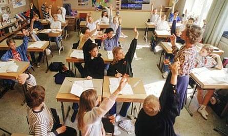 Elementary school children in Swedish classroom