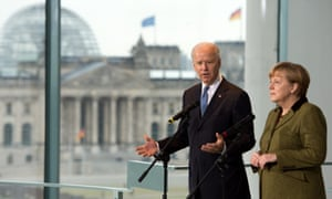 US Vice President Joe Biden and German Chancellor Angela Merkel address journalists at the chancellery in Berlin on February 1, 2013. Biden is in Germany for talks with the German chancellor ahead of the Munich Security Conference.