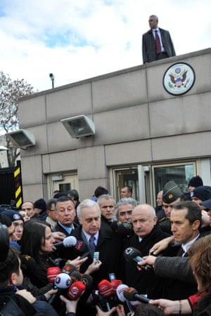 Francis Ricciardone,  the US ambassador to Turkey, and Ankara's governor, Alaaddin Yuksel, speak to the press at the US embassy shortly after a suicide bombing there on 1 February 2013.