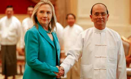 Hillary Clinton shakes hands with Myanmar's President Thein Sein in 2011