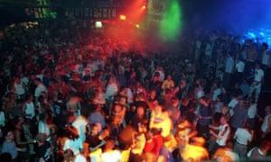 A crowd in a gay club