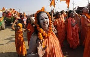 Maha Kumbh : Sadhavis (female sadhus) arrive in a procession for their holy bath