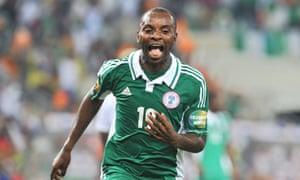 Nigeria's forward Sunday Mba celebrates after scoring the opening goal against Burkina Faso.