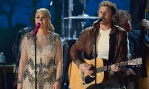 Miranda Lambert and Dierks Bentley perform onstage during the 55th annual Grammy awards.