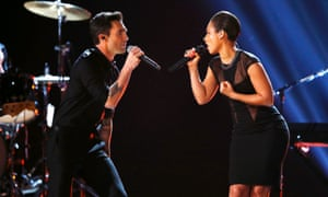 Maroon 5 singer Adam Levine  and Alicia Keys perform at the 55th annual Grammy Awards in Los Angeles, California,.
