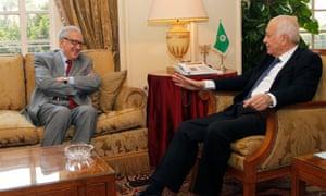 Arab League secretary general Nabil al-Araby met with UN-Arab League international Syria mediator Lakhdar Brahimi at the Arab League headquarters in Cairo on Sunday.