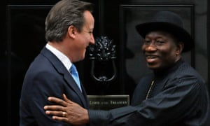 David Cameron greets Nigeria's President Goodluck Jonathan as he arrives at Number 10 Downing Street this morning.