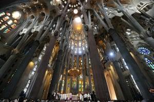 pope benedict resigns: consecration of the Sagarada Familia, in Barcelona