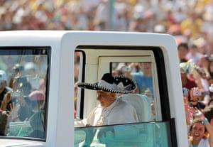 pope benedict resigns: Pope Benedict XVI wears a sombrero