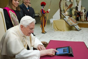 pope benedict resigns: The pope sends his first tweet