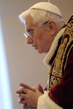 This picture released by the Vatican press office shows Pope Benedict XVI addressing an ordinary consistory at the Vatican today. Pope Benedict XVI has announced he will resign on February 28.