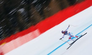 Whoosh … Adrien Theaux of France during the men's super combined downhill race at the World Alpine Skiing Championships in Schladming, Austria.