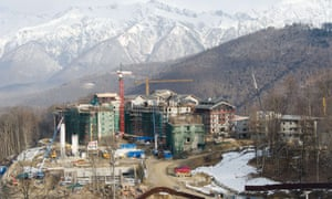 Construction work continues on one of the many uncompleted buildings near Mount Aigba in the Rosa Khutor Extreme Park. With a year to go until the Sochi 2014 Winter Olympics, test events and world championship competitions are under way.