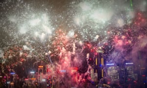 An amazing sight as fireworks illuminate the skyline in Hong Kong for Chinese new year