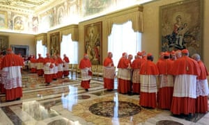 Cardinals after Pope Benedict XVI told them of his resignation on 11 February 2013.