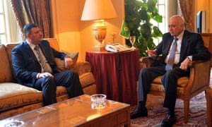 Arab League secretary general Nabil al-Arabi  met former Syrian prime minister Riyad Farid Hijab  in Cairo on Monday. Hijab served as prime minister of Syria under President Bashar al-Assad from June to August 2012, before defecting to the rebel side of the Syrian conflict.  EPA/STR