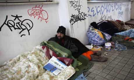 Greece homeless men in Athens