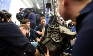 Nick Clegg speaks students in the automotive studies department of Eastleigh College, Hampshire. The deputy PM and leader of the Liberal Democrats visited the constituency to meet the candidate for the party, Mike Thornton, ahead of the by-election on February 28.