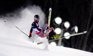 Will Brandenburg of the US crashes in the downhill event of the men's super combined competition at the 2013 Ski World Championships in Schladming, Austria.