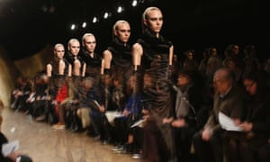 This ghostly multiple-exposure image shows models presenting creations from the Donna Karan Autumn/Winter 2013 collection during New York Fashion Week in New York City.
